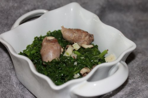 poultry hearts and kale