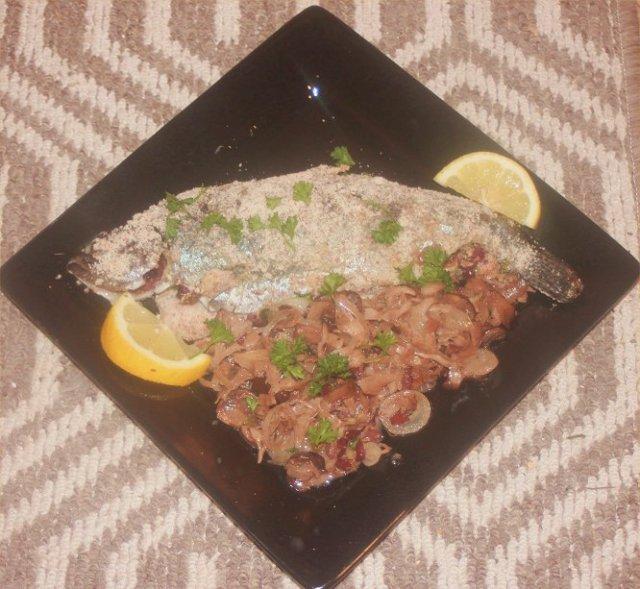 recipe, trout, tapenade, almonds, mushrooms
